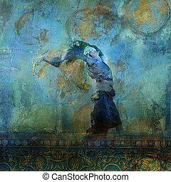mulher, dune., coloridos, areia, lua, stars., soprando, baseado, upraised, illustration., vestido, foto