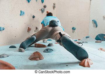 mulher, escalando, indoor