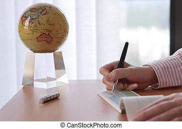 mulher, escritório, negócio, globo, escrita, girar, cheque, dentro