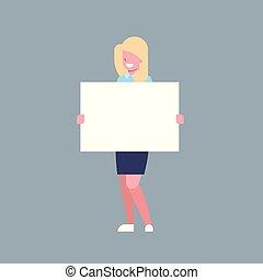 mulher, escritório, negócio, personagem, trabalhador, executiva, branca, ter, bandeira, vazio