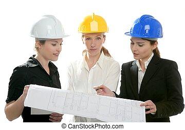 mulher, estúdio, isolado, arquitetos, trabalhando