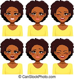 mulher, expressões, americano, africano