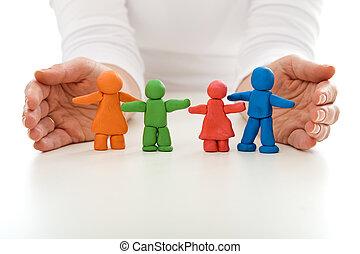 mulher, família, pessoas, argila, protegido, mãos