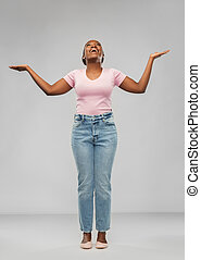 mulher feliz, americano, celebrando, sucesso, africano