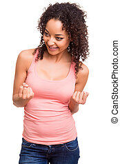 mulher feliz, celebrando, africano