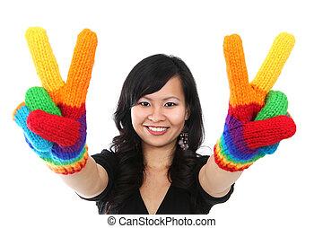 mulher feliz, sinal, paz