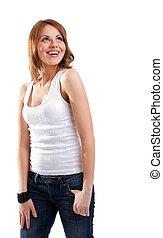 mulher, feliz, sorrizo, t-shirt