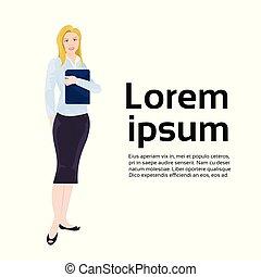 mulher, femininas, negócio, espaço, executiva, sobre, comprimento, cheio, fundo, cópia