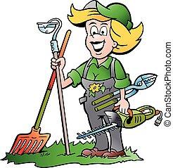 mulher, ferramentas, jardim, jardineiro
