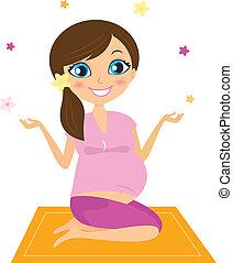 mulher, flores, juggling, ioga, grávida