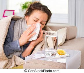 mulher, flu., pegado, espirrando, cold., tecido, doente, woman.