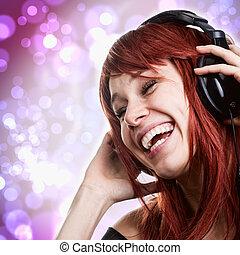 mulher, fones, música, divertimento, tendo, feliz