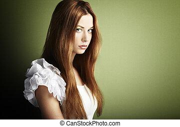 mulher, foto, jovem, cabelos formam, vermelho