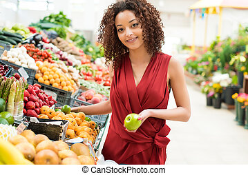 mulher, frutas, shopping