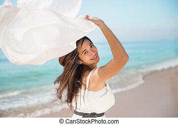 mulher, grávida, natureza, braços, asiático, desfrutando, abertos