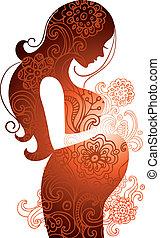 mulher, grávida, silueta