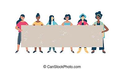 mulher, grupo, diverso, vazio, segurando, bandeira, amigo
