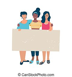 mulher, grupo, texto, segurando, em branco, bandeira, vazio
