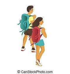 mulher homem, backpacks., viagem, jovem