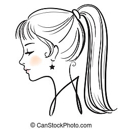 mulher, ilustração, rosto, vetorial, bonito