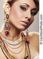 mulher, jóia, moda
