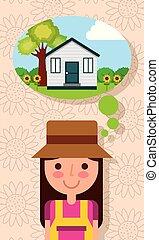 mulher, jardim, pensando, casa, árvore, jovem, flores, feliz