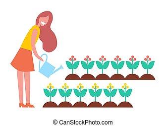 mulher, jardim, trabalhando, flores, caricatura, ícone