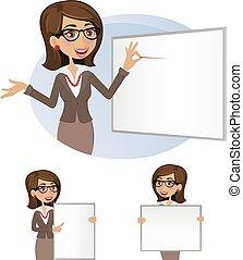 mulher, jogo, board-, negócio