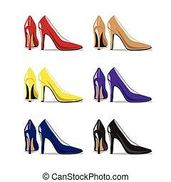 mulher, jogo, sapatos