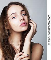 mulher, -, jovem, conceito, closeup, retrato, saúde, encantador