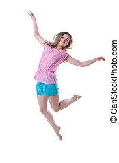mulher, jovem, pular, feliz