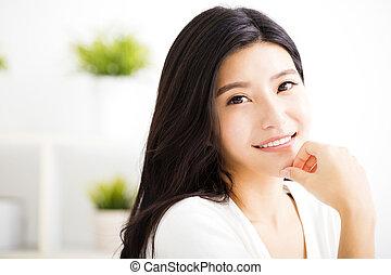 mulher, jovem, rosto, closeup, asiático, sorrindo