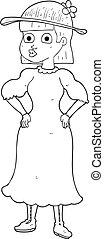 mulher, lamacento, pretas, vestido branco, caricatura