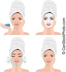 mulher, lavando, mostrando, rosto, quatro, passos