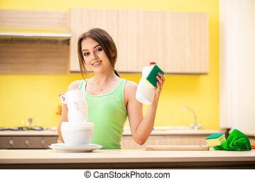 mulher, lavar serve, jovem, limpeza, cozinha
