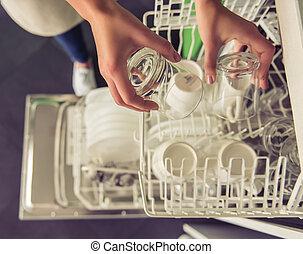 mulher, limpeza, dela, cozinha
