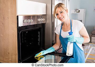 mulher, limpeza, forno, cozinha