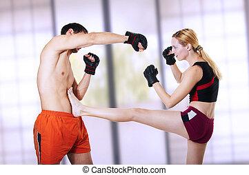 mulher, lutador, kick., -, autodefesa, frente