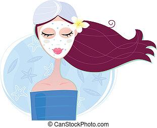 mulher, máscara, desfolha, facial, spa