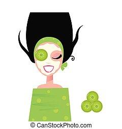 mulher, máscara, pepino, wellness, facial, verde, &
