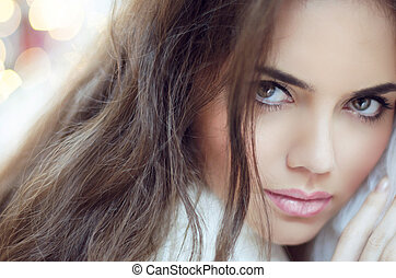 mulher, maquilagem, glamour, moda, portrait., hair.