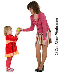 mulher, menininha, maçã