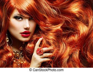 mulher, moda, hair., longo, retrato, cacheados, vermelho