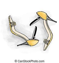 mulher, moda, ilustração, alto, sapatos, heels.