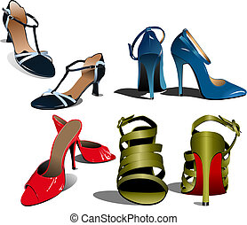 mulher, moda, ilustração, vetorial, shoes.