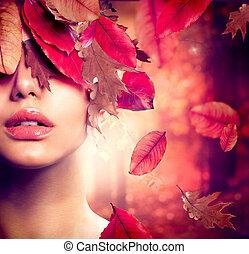mulher, moda, portrait., outono, outono