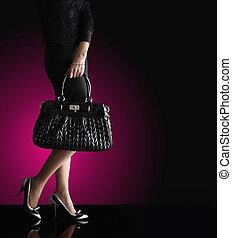 mulher, na moda, foto, moda, pretas, saco