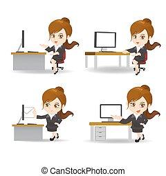 mulher negócio, caricatura, escritório