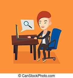mulher negócio, dela, trabalhando, laptop.