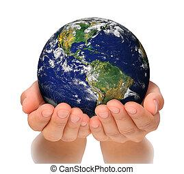 mulher, norte, dela, globo, segurando, américa, mãos, sul